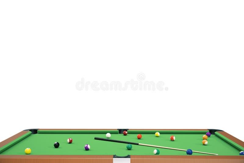 3D ilustracyjnego basenu bilardowa gra Amerykański basen bilardowy Basen bilardowa gra, Bilardowy sporta pojęcie ilustracja wektor