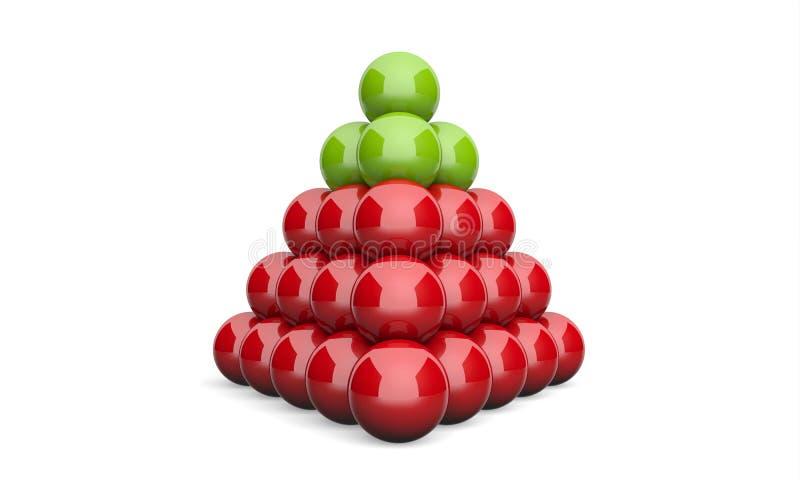 3D Ilustracyjnego ostrosłupa pojęcia zieleni balowa czerwień 2 ilustracji