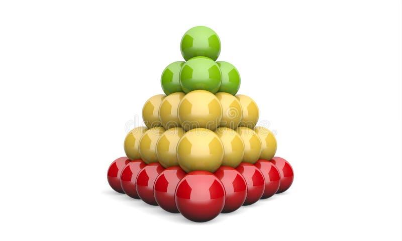 3D Ilustracyjnego ostrosłupa pojęcia zieleni koloru żółtego balowa czerwień ilustracji
