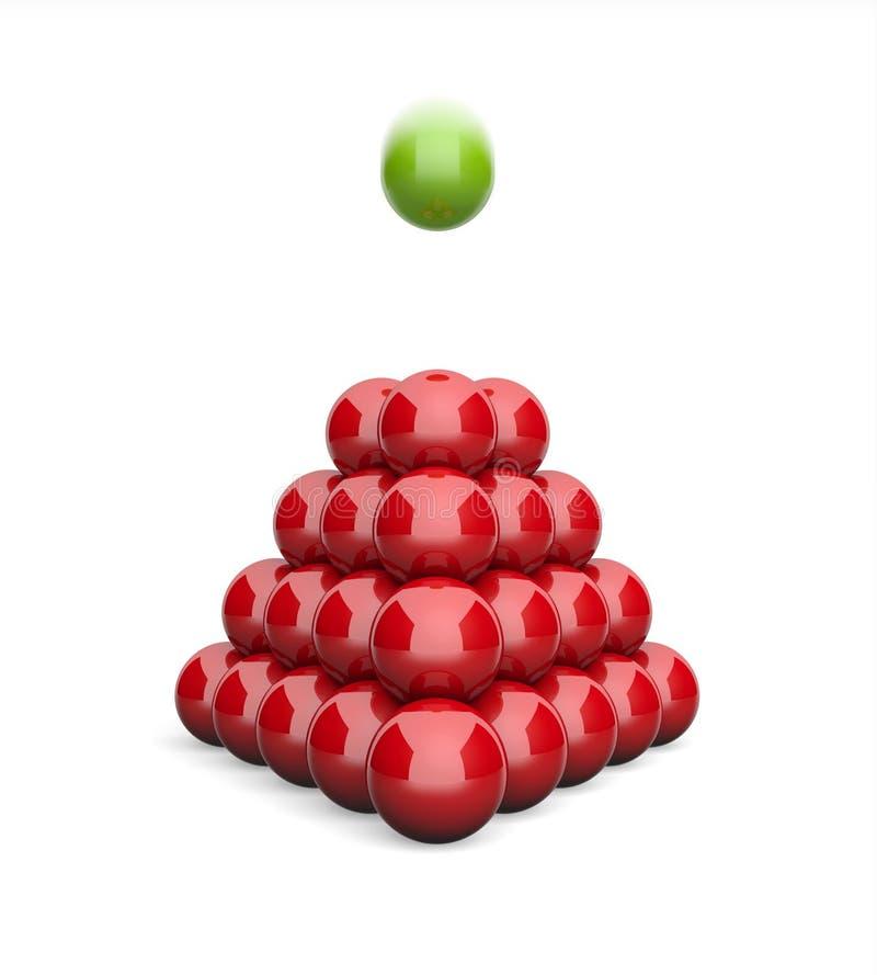 3D Ilustracyjnego ostrosłupa pojęcia zieleni latająca balowa czerwień ilustracji