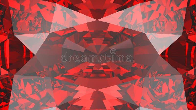 3D ilustracyjnej uprawy tekstury czerwony rubinowy diamentowy zoom ilustracji