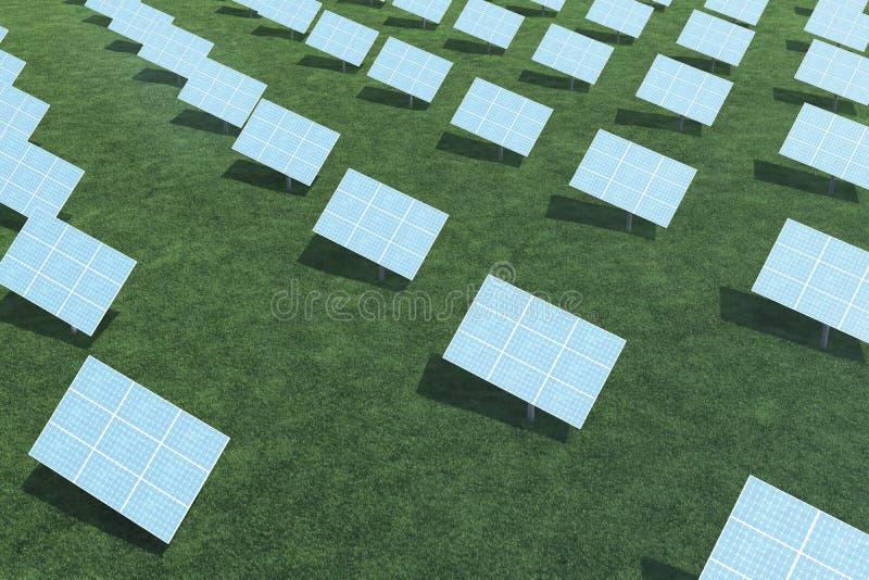 3D ilustracyjni panel słoneczny z chmurami Energia i elektryczność Alternatywnej energii, eco lub zieleni generatory, władza obraz royalty free