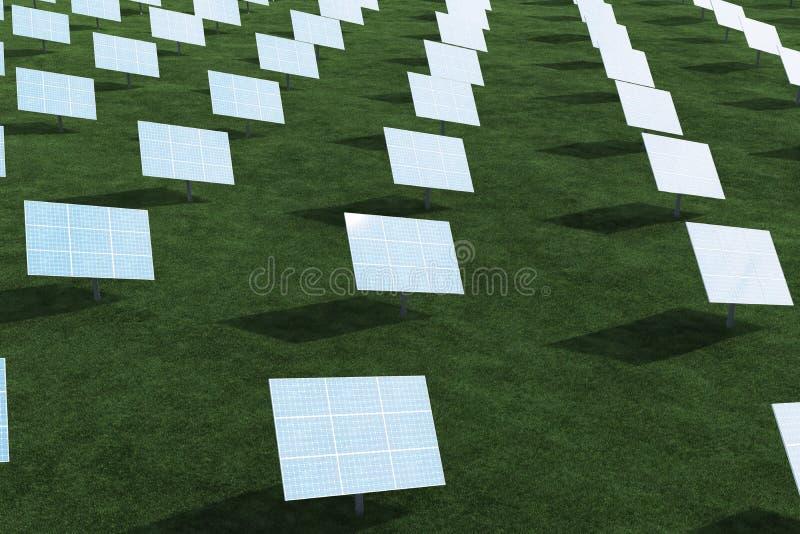 3D ilustracyjni panel słoneczny z chmurami Energia i elektryczność Alternatywnej energii, eco lub zieleni generatory, władza obraz stock