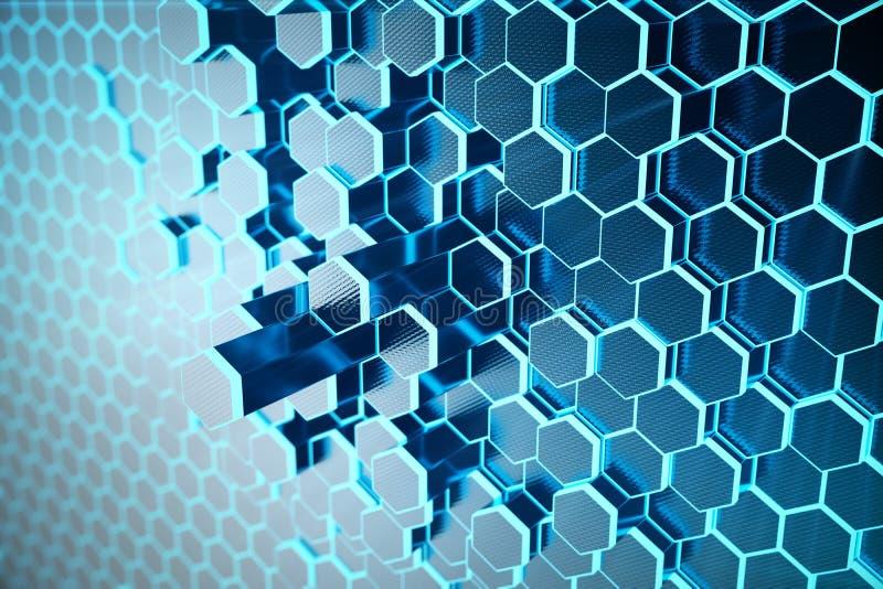 3D ilustracyjny Abstrakcjonistyczny błękit futurystyczny nawierzchniowy sześciokąta wzór z lekkimi promieniami Błękitnego odcieni ilustracja wektor