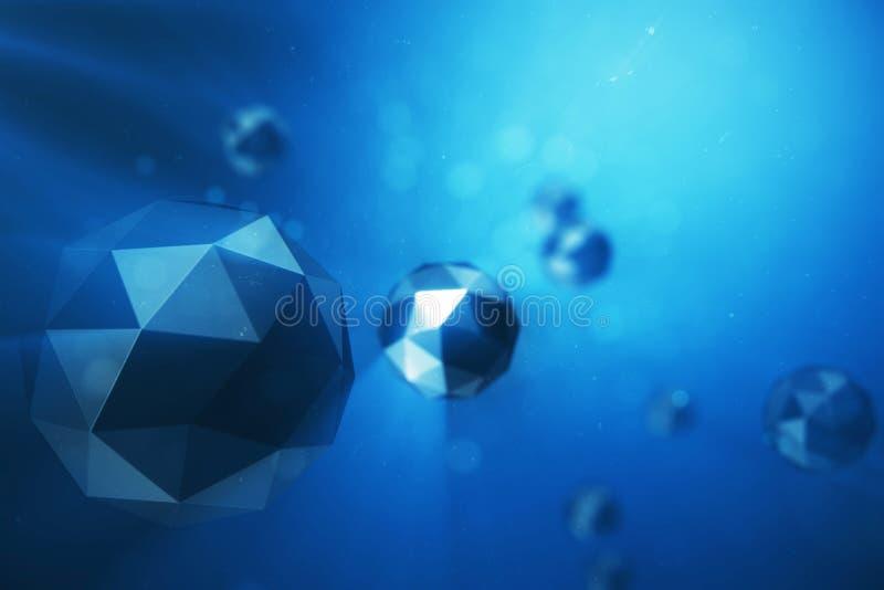 3D ilustracyjny abstrakcjonistyczny tło chaotyczne niskie poli- sfery Cząsteczka w zakurzonej przestrzeni niebieski futurystyczny ilustracji