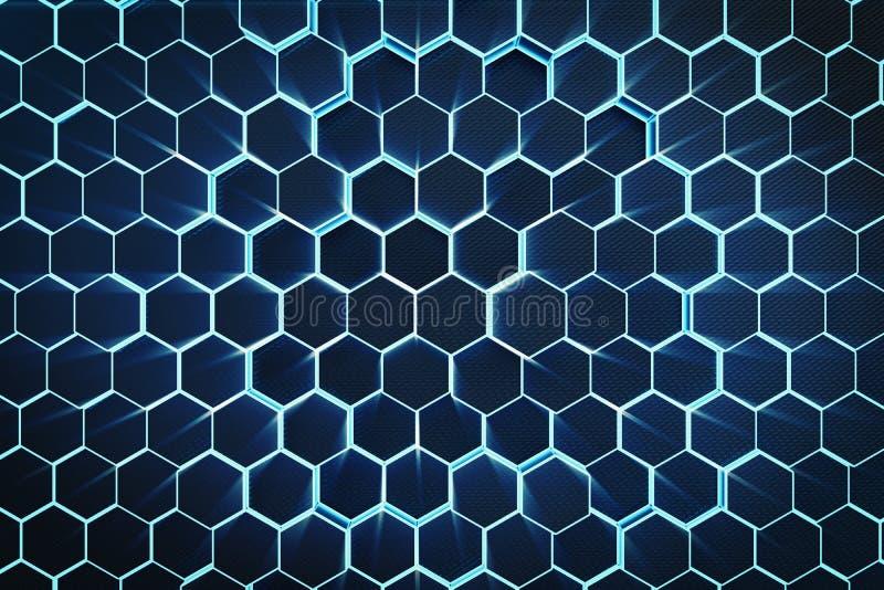 3D ilustracyjny błękitny abstrakcjonistyczny heksagonalny geometryczny tło Struktura samoświecący sześciokąty w błękitnym odcieni royalty ilustracja