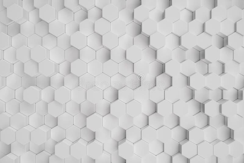 3D ilustracyjny biały geometryczny heksagonalny abstrakcjonistyczny tło Nawierzchniowy sześciokąta wzór, heksagonalny honeycomb ilustracji