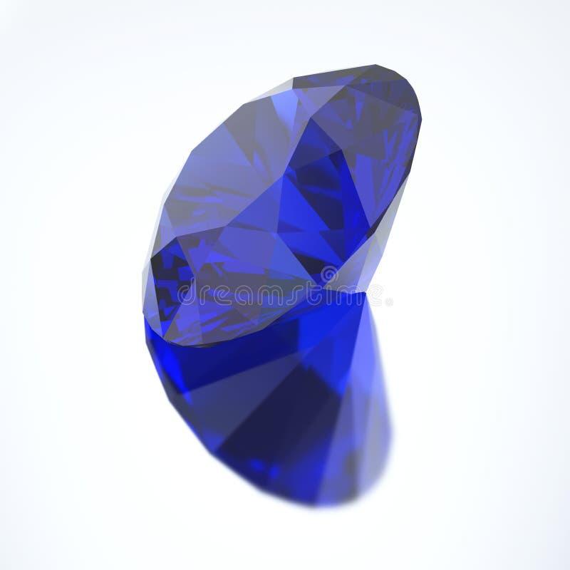 3D ilustracyjny diamentowy błękitny szafir z odbiciem royalty ilustracja