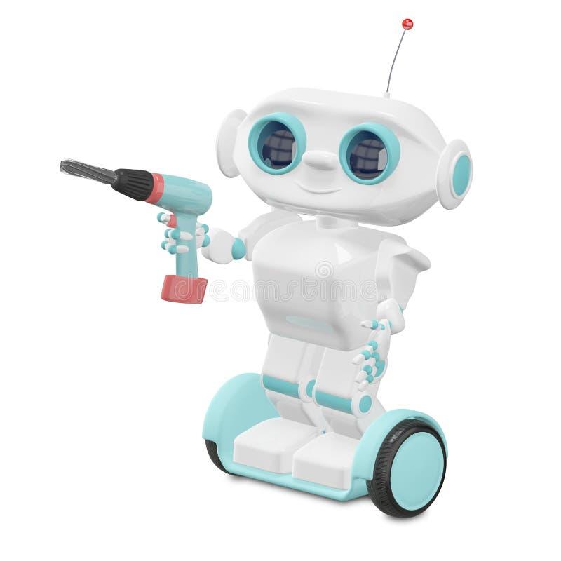 3D Ilustracyjny Mały robot z śrubokrętem ilustracji