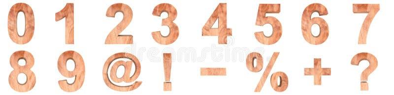 3D ilustracyjny ustawiający drewniane liczby i matematyka symbole Rendering ilustracja pojedynczy białe tło ilustracji