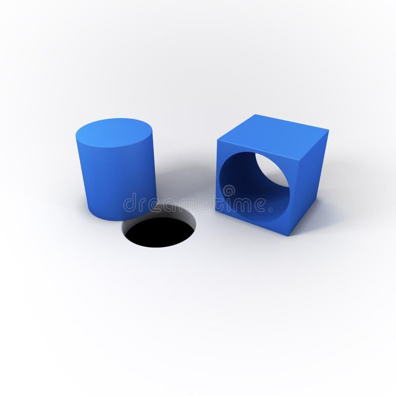 3D Ilustrująca błękita kwadrata czopu butla i Round dziura na Jaskrawym Białym tle ilustracji