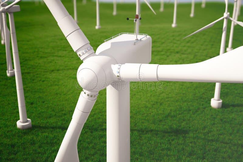 3d iluustration, turbine op het gebied, groen, windturbine, produceert, ecomacht milieuvriendelijke energie van vector illustratie