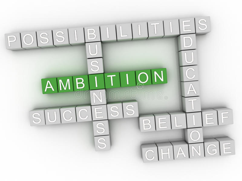 3d image Ambition word cloud concept royalty free illustration