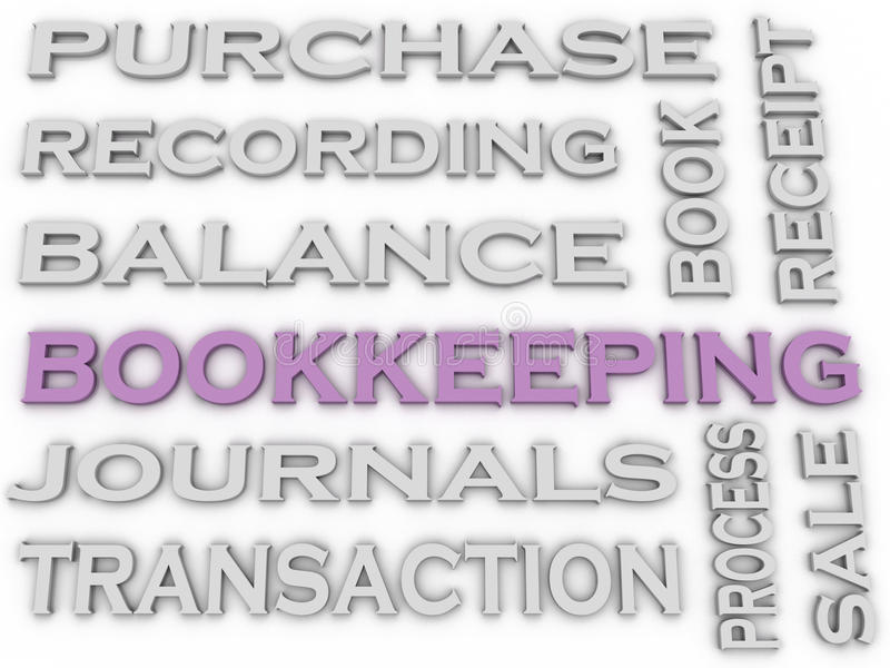 3d image Bookkeeping issues concept word cloud background vector illustration