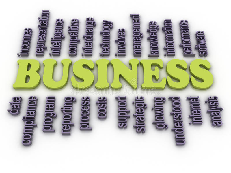 3d image Business concept word cloud background vector illustration
