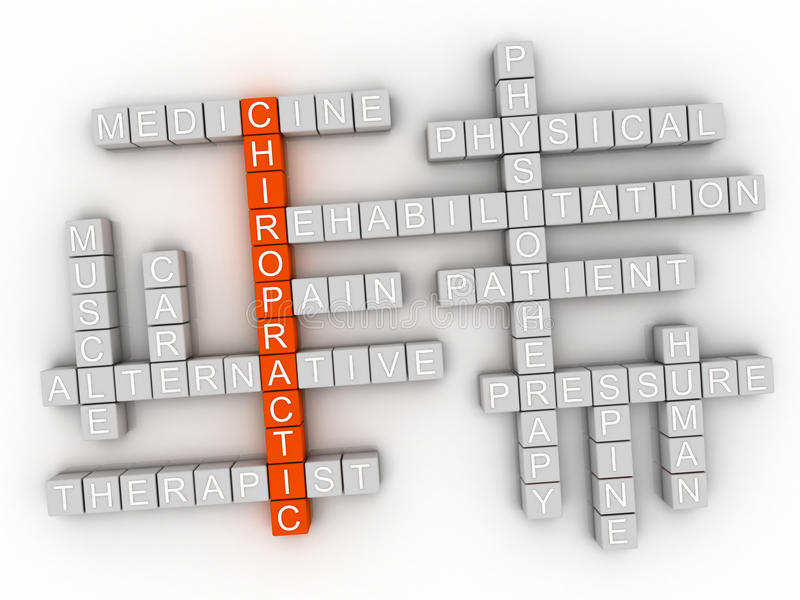 3d image Chiropractic issues concept word cloud background.  stock illustration