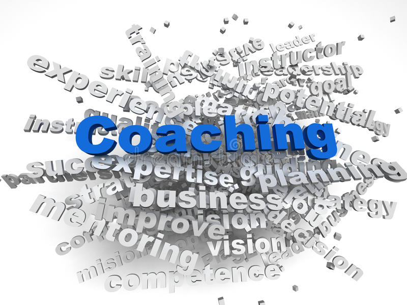 3d image Coaching issues concept word cloud background royalty free illustration