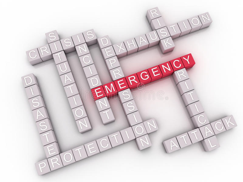 3d image Emergency issues concept word cloud background.  vector illustration