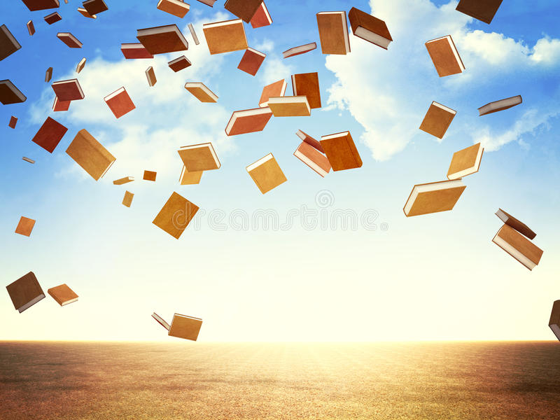 Books rain vector illustration