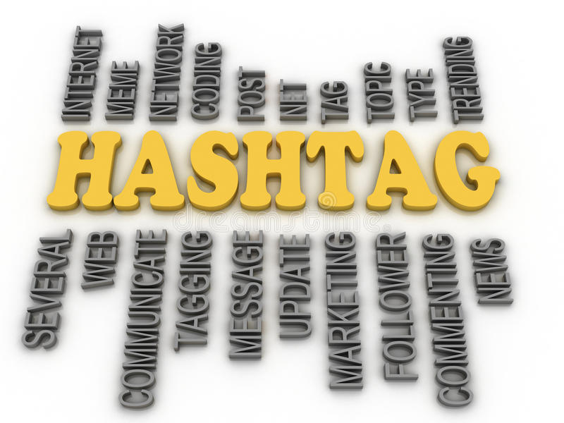 3d image Hashtag concept word cloud background vector illustration