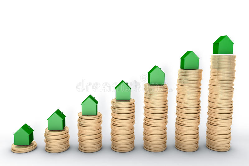 3d image: high quality rendering: Mortgage concept. Green houses on stacks of golden coins on white background Metal cop vector illustration