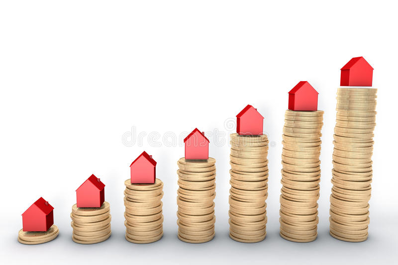3d image: high quality rendering: Mortgage concept. Red houses on stacks of golden coins on white background Metal coppe royalty free illustration