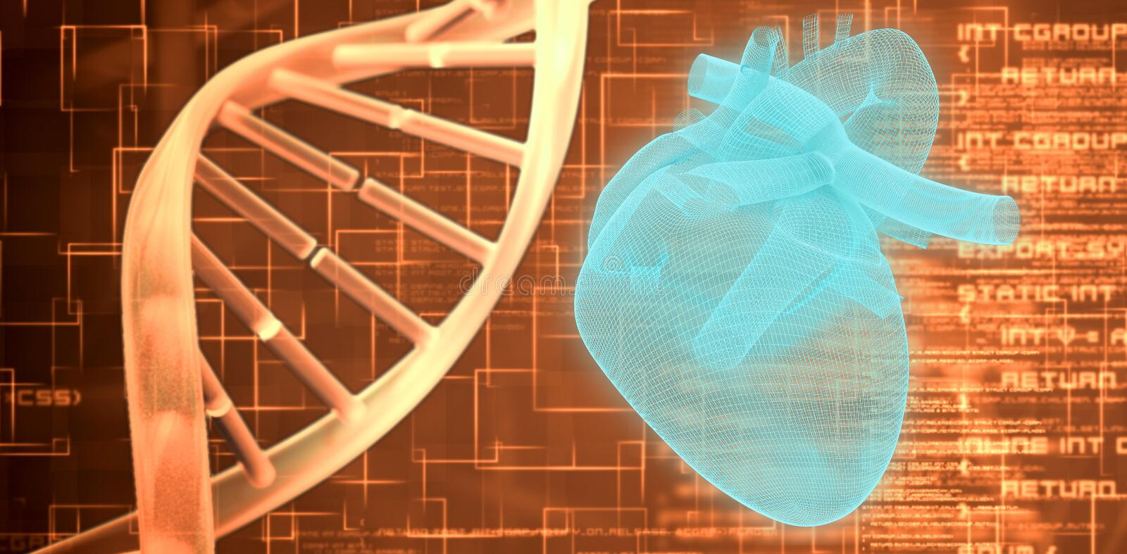 Composite image of 3d image of human heart. 3d image of human heart against orange dna helix background squares royalty free illustration