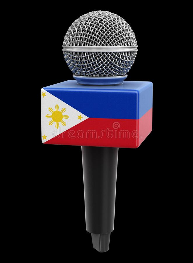 Microphone and Philippine flag. Image with clipping path. 3d image of Microphone and Philippine flag. Image with clipping path stock illustration