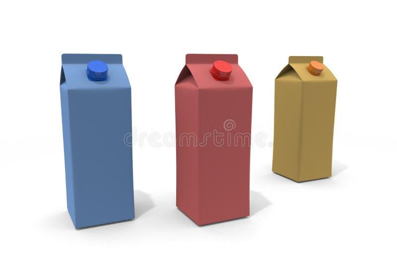 Three Milk Carton 3D illustration vector illustration