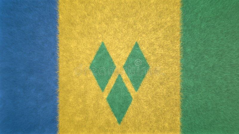 3D image originale, drapeau de Saint-Vincent-et-les-Grenadines illustration libre de droits