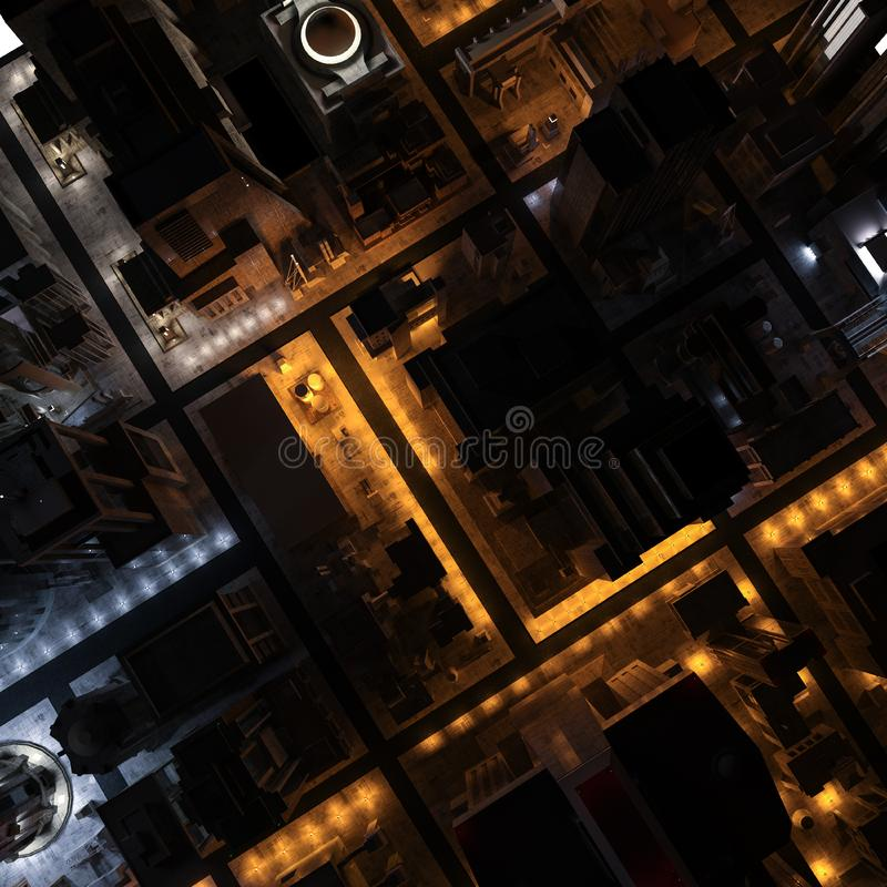 3D image - Overhead view of city at night stock photography
