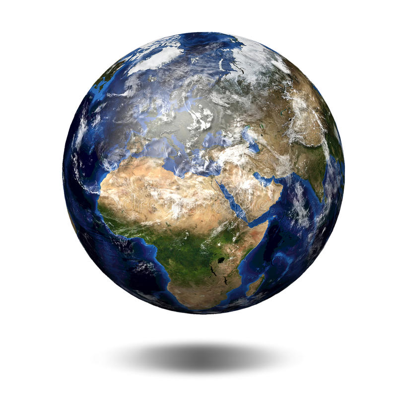 3D image of planet Earth. View to Europe and Africa stock illustration