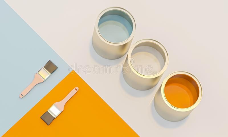3d image render of color cans and brush on geometric background royalty free illustration