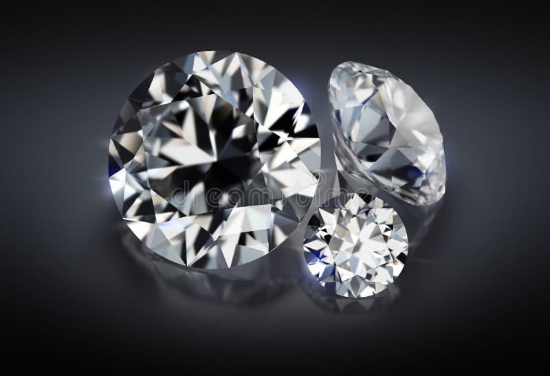 Three diamonds on a dark background stock illustration