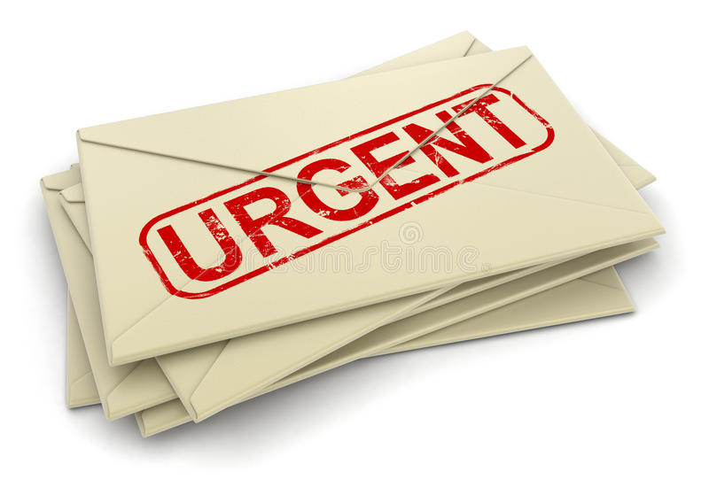 3d image of Urgent letters. Urgent letters. Image with clipping path royalty free illustration