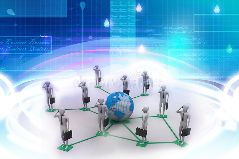 3d image of virtual men on global connection royalty free illustration