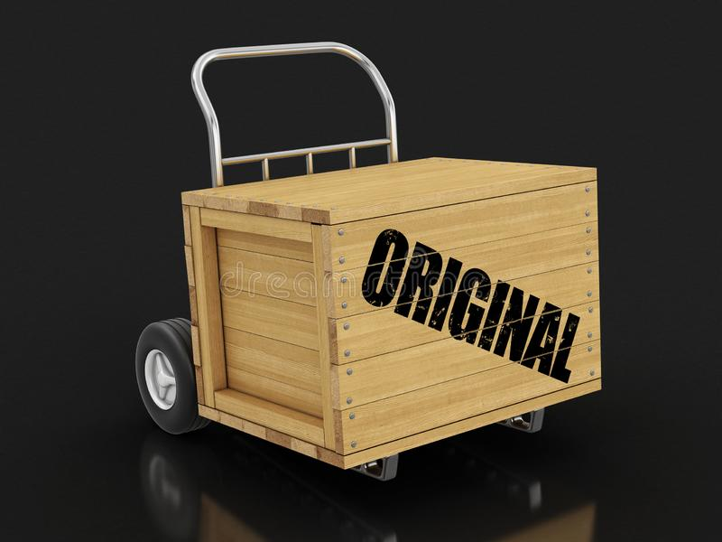 Wooden crate with Original on Hand Truck. Image with clipping path. 3d Image of Wooden crate with Original on Hand Truck. Image with clipping path stock illustration