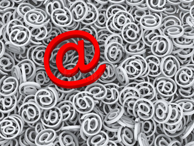 3d important message email symbol at sign. 3d concept rendering of important email and message. A red big email symbol at sign over mass of other object stock illustration