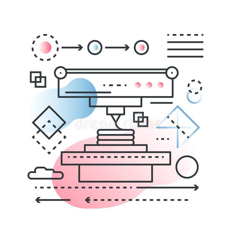 3D impresión, exploración que modela concepto de proceso del vector de la tecnología en línea de moda con estilo plano del color  stock de ilustración