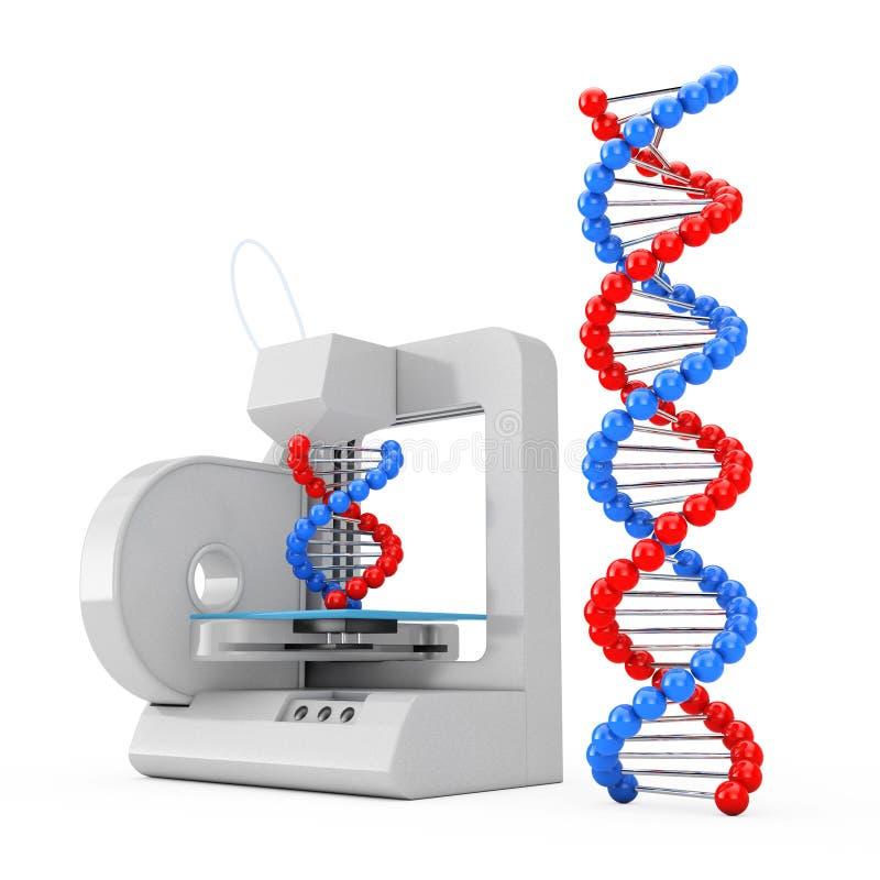 3d impressora Print as moléculas novas do ADN rendição 3d ilustração stock
