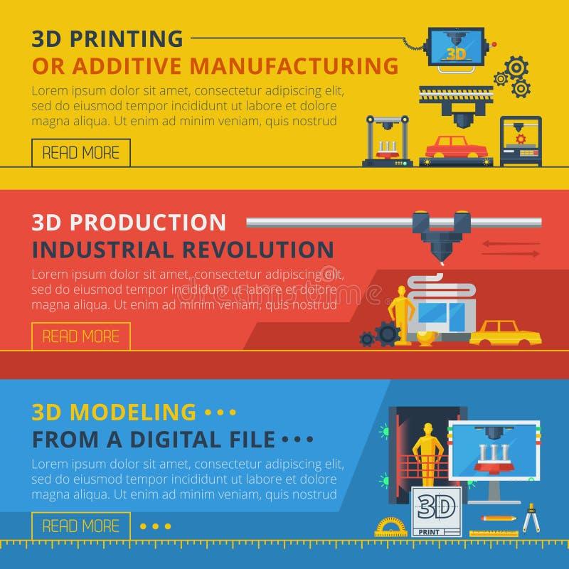 3D imprimant les bannières horizontales plates réglées illustration stock