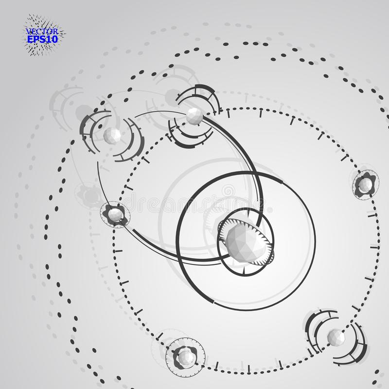 3d inżynierii technologii wektoru tło Futurystyczny techniczny plan, mechanizm Monochromatyczny machinalny plan, dimensional abst royalty ilustracja