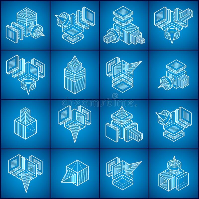3D inżynierii wektory, abstrakt kształtują kolekcję ilustracja wektor