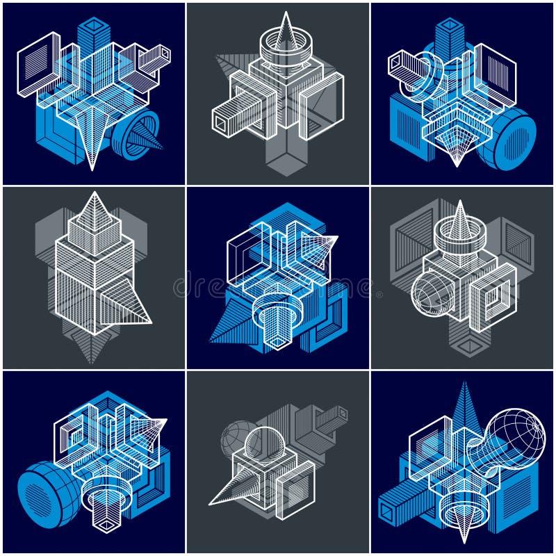 3D inżynierii wektory, kolekcja abstrakcjonistyczni kształty royalty ilustracja