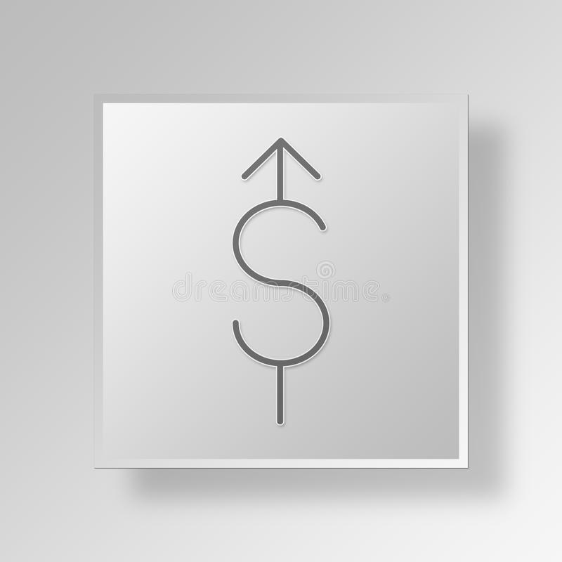3D Increase In Dollar Value Button Icon Concept royalty free illustration