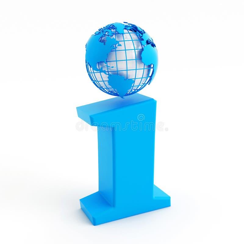3d info błękitna ikona z kulą ziemską zamiast kropki ilustracja wektor