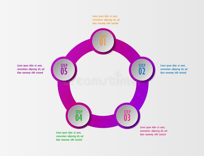 3D infographic alternativ för mall fem, diagram för affärscirkel royaltyfri illustrationer