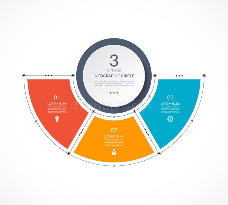 D'Infographic cercle semi dans la ligne mince style plat illustration de vecteur