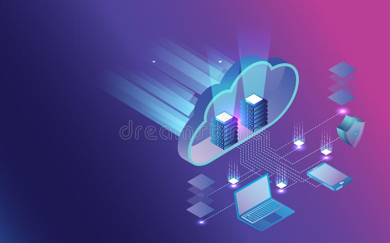 3D Infographic of data sharing and protection by security shield concept based Cloud Storage design. Can be used for web template vector illustration