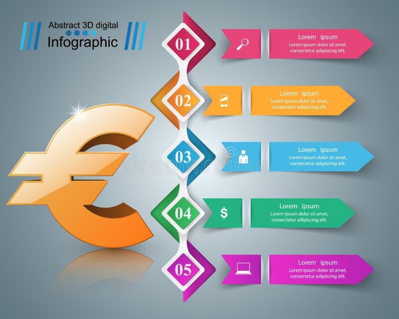 3D Infographic Euro, icona dei soldi illustrazione di stock